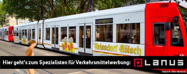 Verkehrsmittelwerbung in Köln schalten, KVB Werbung mieten